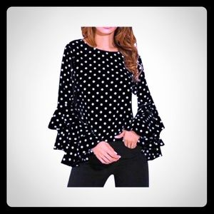 Tops - Long Sleeve Blouse Loose Polka Dot Printed Top